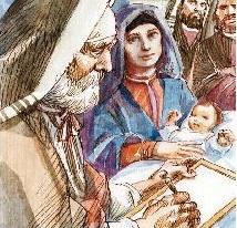Zaccaria scrive sulla tavoletta il nome del bambino