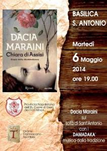 Locandina della presentazione del libro di Dacia Maraini