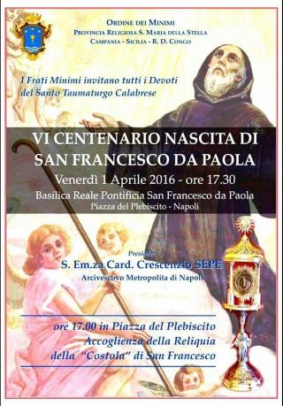 locandina San Francesco di Paola a Napoli